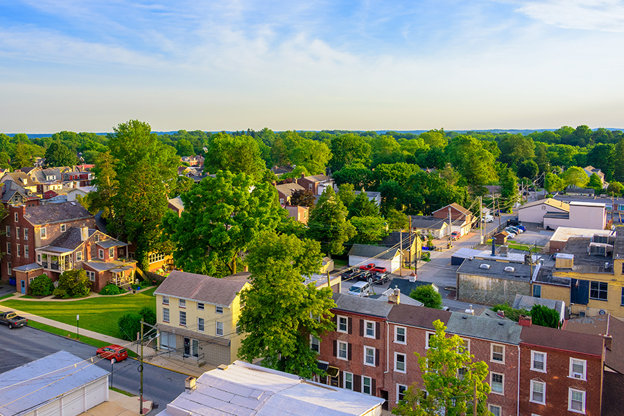 Bloomsburg, PA - Aerial View of Suburban Houses and Small Town Sunset in Pennsylvania